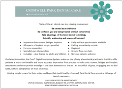 Cromwell Park Dental Care Advert